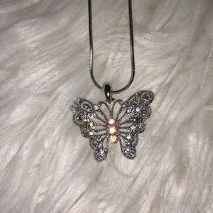 Jewelry - Real silver butterfly pendant & real silver chain
